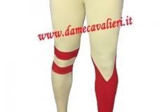 Calza con una gamba a rondine e una gamba a 3 strisce orizzontali