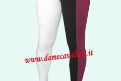 Calza con una gamba monocroma e una gamba divisa al centro